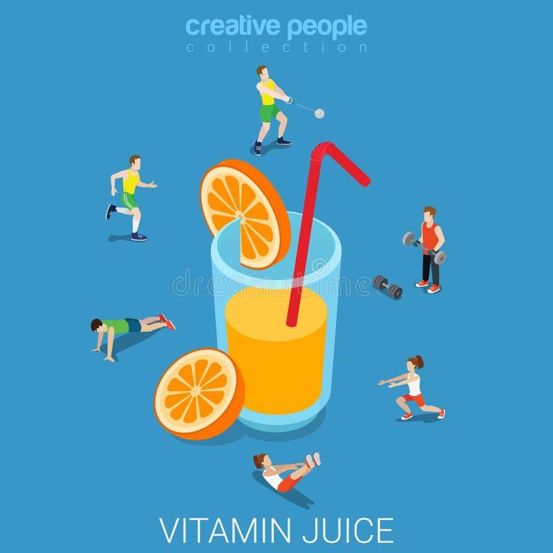 Vecteur 3d isométrique plat en verre de jus d'agrumes orange de vitamine illustration de vecteur