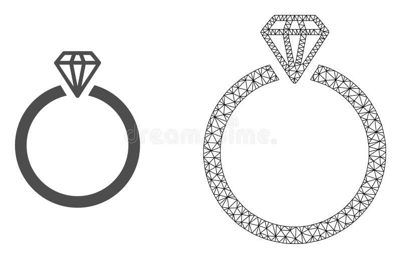 Vecteur 2D Mesh Diamond Ring et icône plate illustration libre de droits