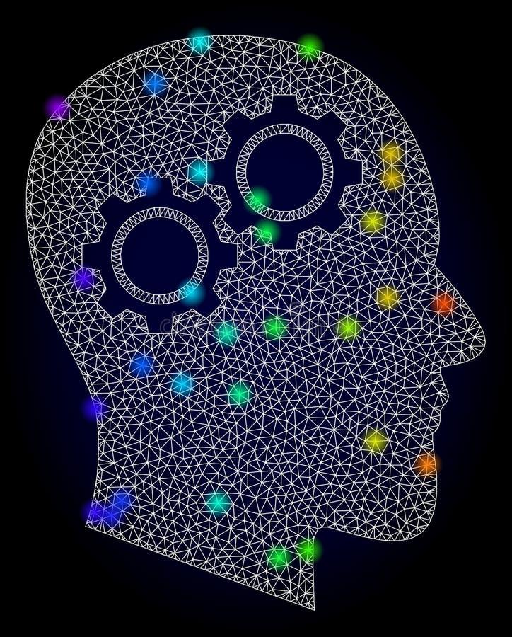 Vecteur 2D Mesh Head Gears avec les taches d'?clat color?es par arc-en-ciel illustration stock