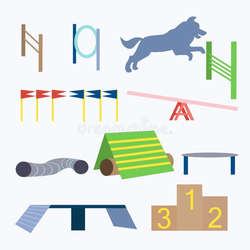 Vecteur d'obstacles de chien d'agilité illustration stock