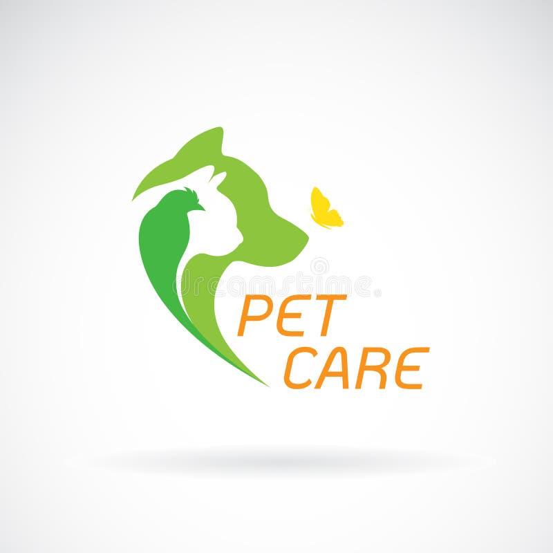 Vecteur d'oiseau, de chat, de chien et de papillon sur le fond blanc pet illustration stock