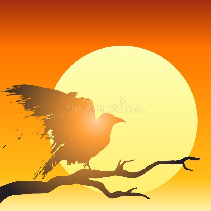 Vecteur d'oiseau de coucher du soleil illustration libre de droits