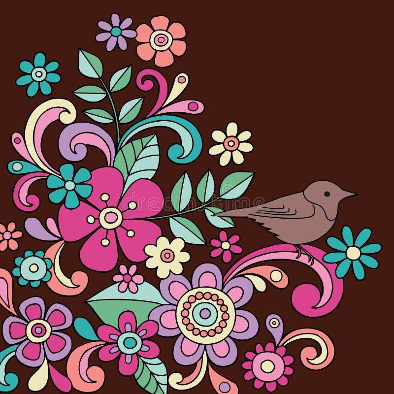 Vecteur d'oiseau et de fleurs de henné de griffonnage illustration stock