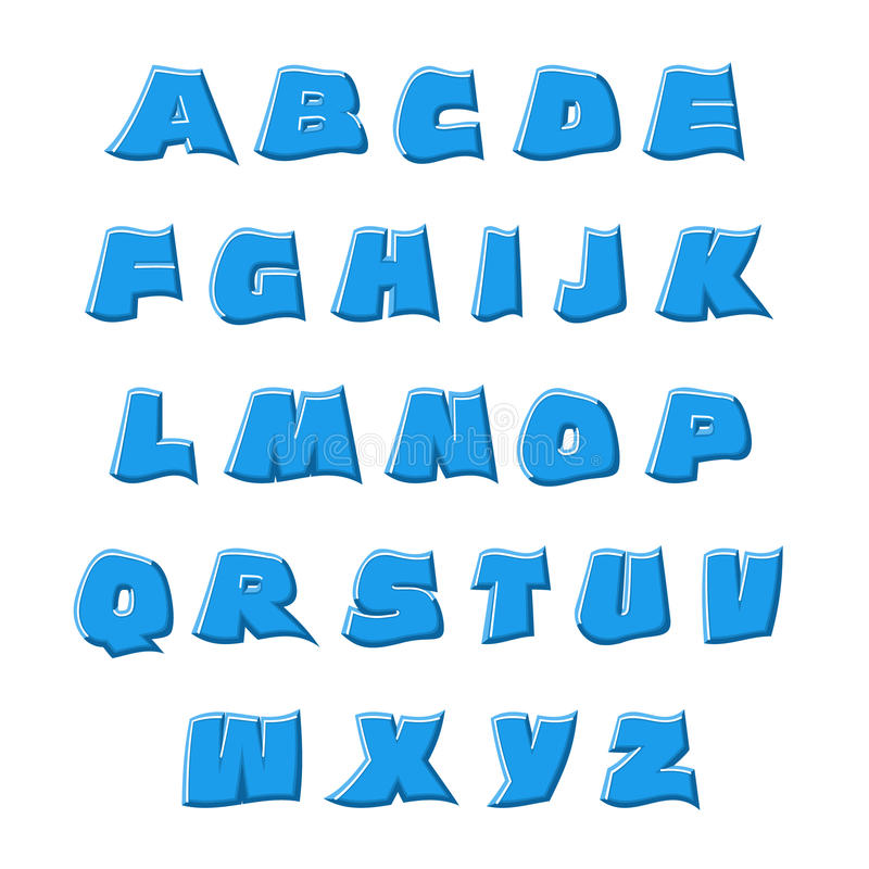 vecteur 3D ondulant l'alphabet bleu d'alphabet illustration libre de droits