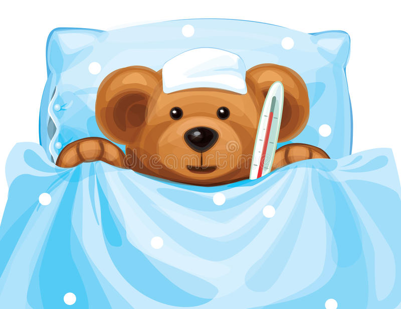 Vecteur d'ours malade de bébé avec le thermomètre dans le lit. illustration libre de droits