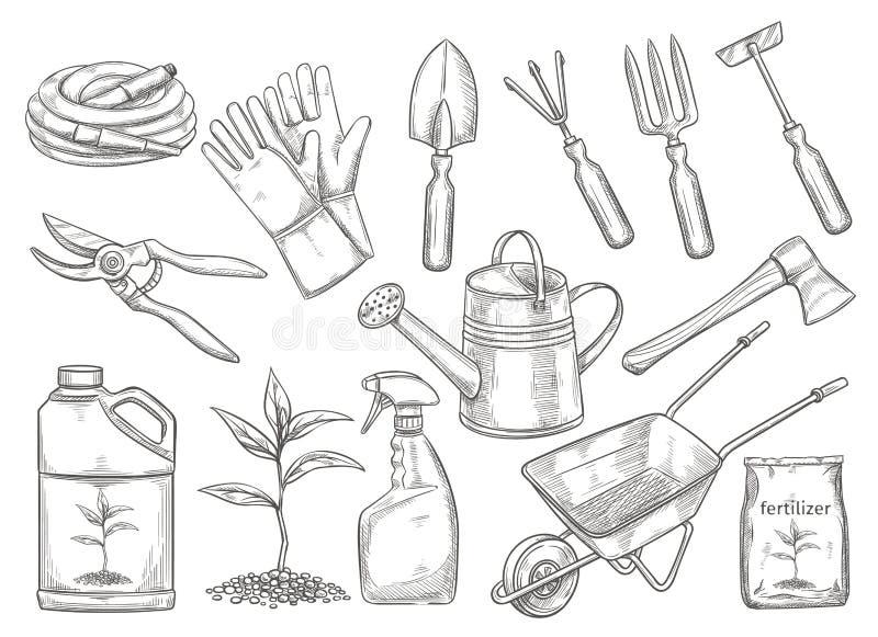 Vecteur d'outils de jardinage illustration stock