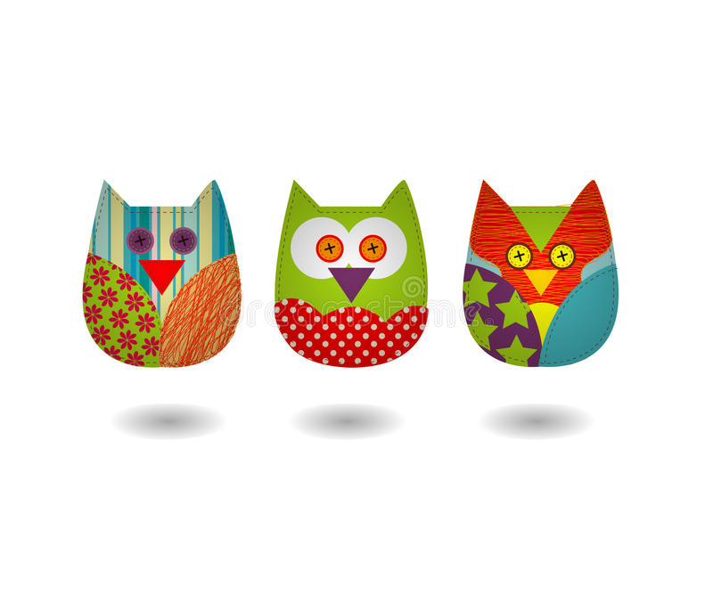 Vecteur d'Owl Three Sewing Style illustration libre de droits