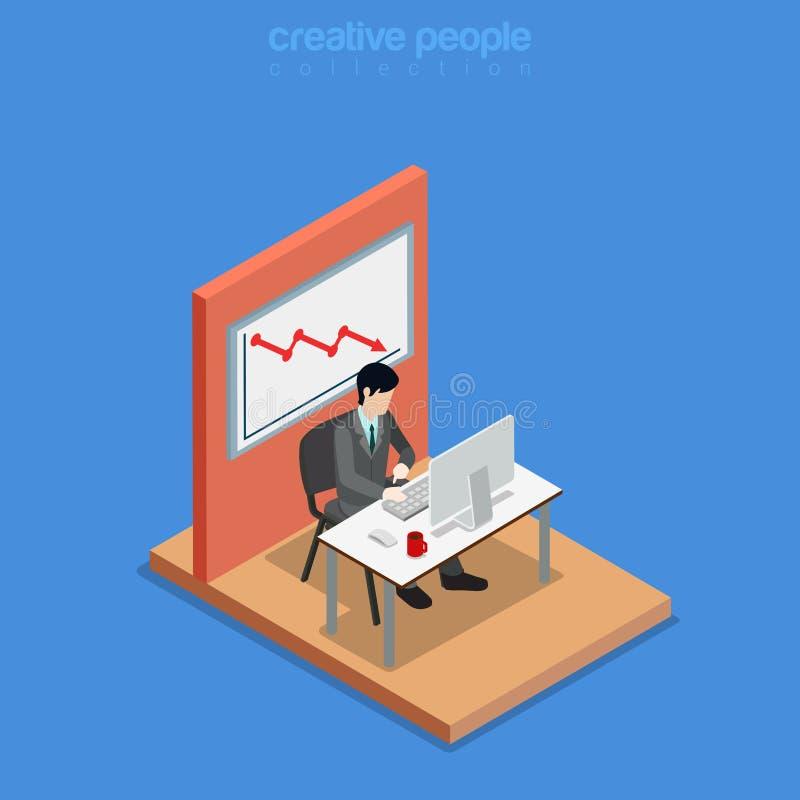 Vecteur 3d plat d'affaires isométriques de travail d'homme de bureau illustration de vecteur