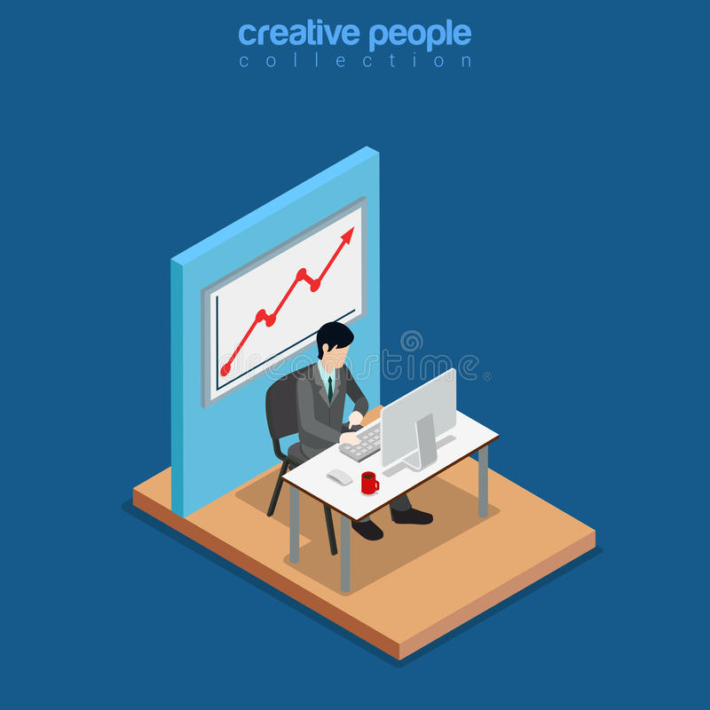 Vecteur 3d plat d'affaires isométriques de travail d'homme de bureau illustration stock