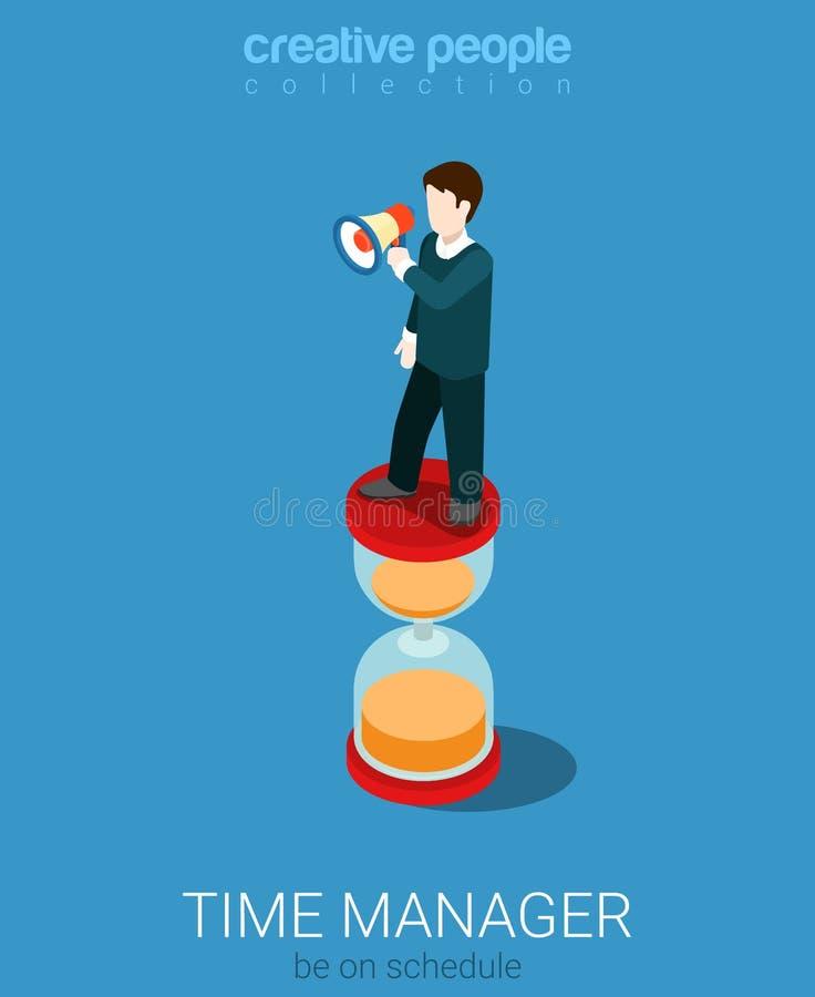 Vecteur 3d plat d'homme d'affaires de directeur de gestion du temps isométrique illustration stock