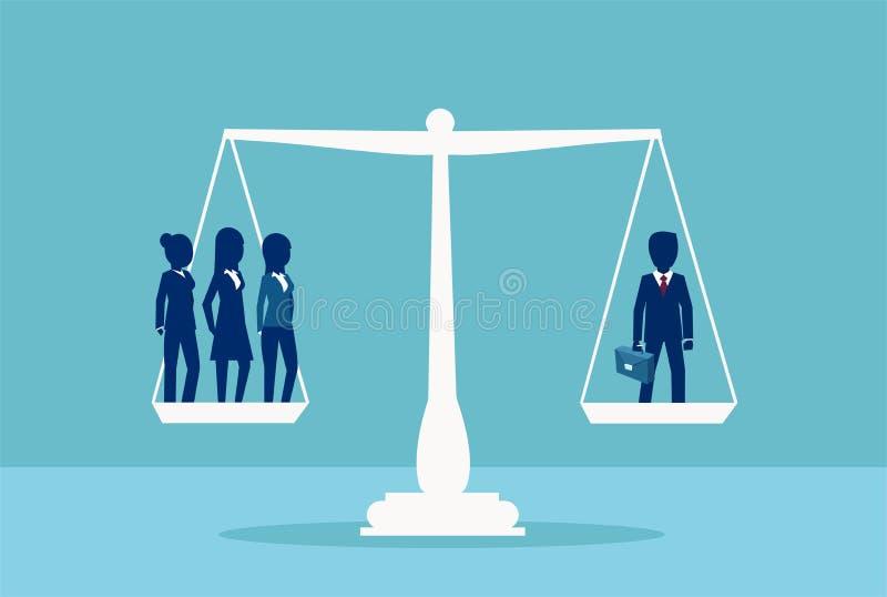 Vecteur d'un homme d'affaires équilibrant trois femmes d'affaires sur une échelle Symbole d'inégalité de sexe illustration de vecteur