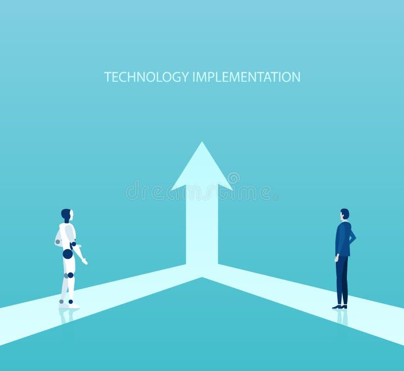 Vecteur d'un homme d'affaires collaborant avec le robot pour un objectif commun illustration stock