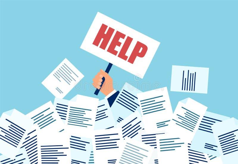 Vecteur d'un homme d'affaires dans le besoin d'aide sous beaucoup de factures et documents illustration de vecteur