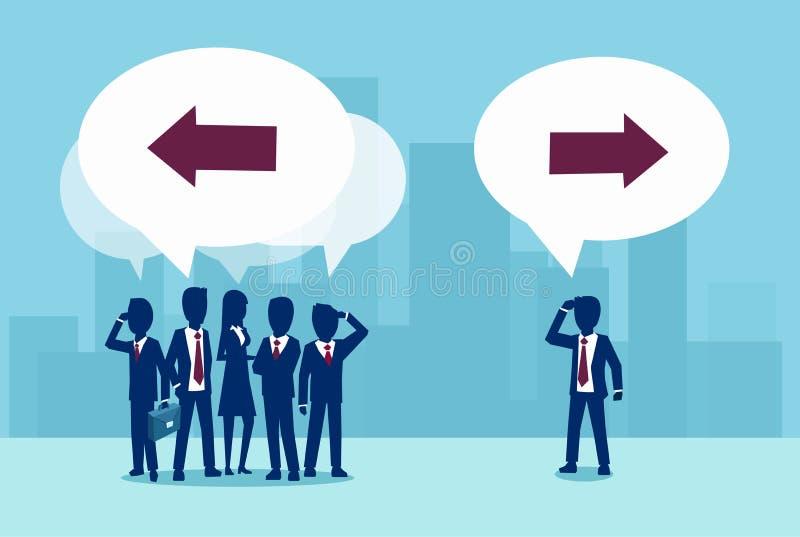 Vecteur d'un homme d'affaires recherchant une nouvelle solution différente illustration de vecteur