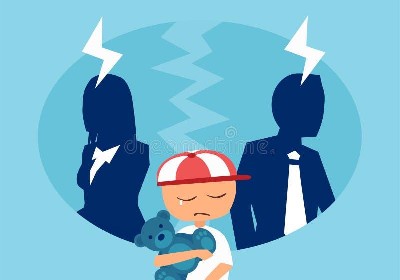 Vecteur d'un homme et d'une femme de couples ayant un argument avec un enfant pleurant soumis à une contrainte au milieu illustration stock