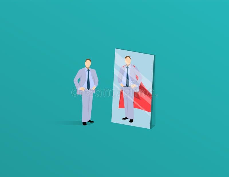 Vecteur d'un homme motivé d'affaires se faisant face en tant que superhéros dans le miroir Concept de la confiance en soi illustration de vecteur
