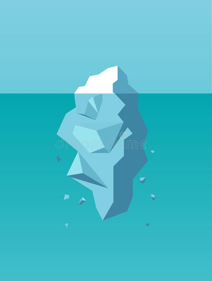 Vecteur d'un iceberg comme symbole du risque commercial, danger, défi illustration de vecteur