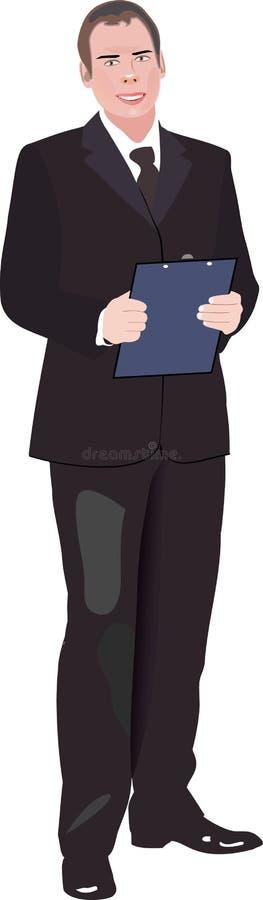 Vecteur d'un jeune sourire d'homme d'affaires illustration stock