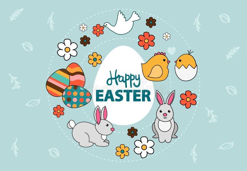 Vecteur d'une carte de Pâques colorée avec le lapin, oeufs peints, colombe, fleurs illustration libre de droits