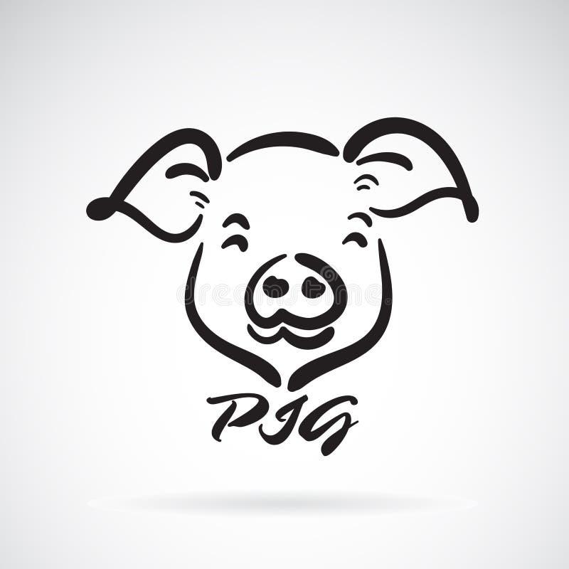 Vecteur d'une conception principale de porcs sur un fond blanc Animaux de ferme Logo ou icône de porc Illustration posée editable illustration stock