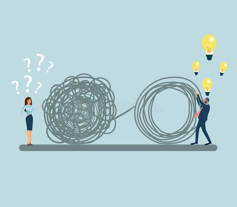 Vecteur d'une femme confuse avec beaucoup de questions et d'un homme résolvant ses problèmes offrant des idées de solution illustration de vecteur