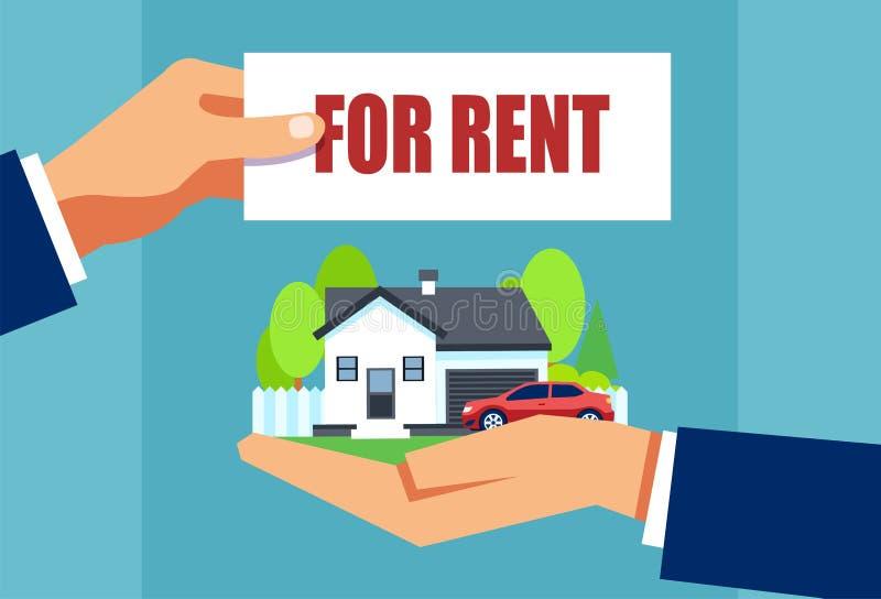 Vecteur d'une maison de offre et d'une voiture de vrai agent immobilier pour le loyer illustration libre de droits