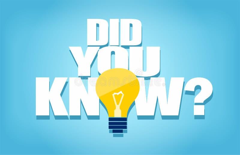 Vecteur d'une question que vous connaissiez avec l'icône de l'ampoule illustration libre de droits