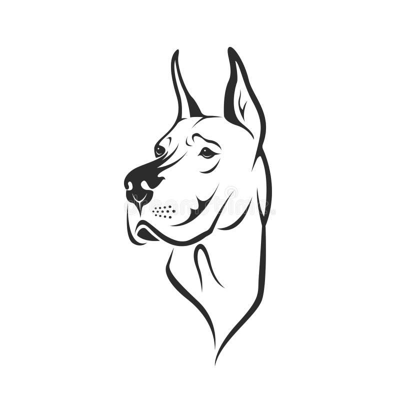 Vecteur d'une tête de chien great dane ou de mastiff allemand illustration stock