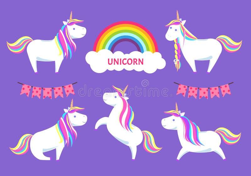 Vecteur d'Unicorn Magic Creature Decorative Clouds illustration stock