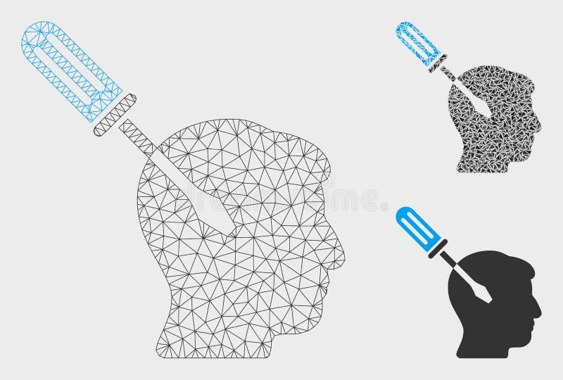 Vecteur de accord Mesh Wire Frame Model de tournevis d'intellect et icône de mosaïque de triangle illustration stock