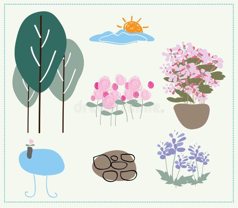 Vecteur de aménagement de jardin de nature illustration de vecteur