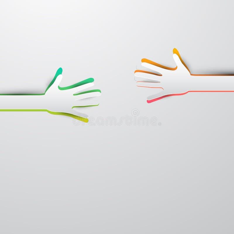 Vecteur de atteinte de mains coupé par papier illustration stock