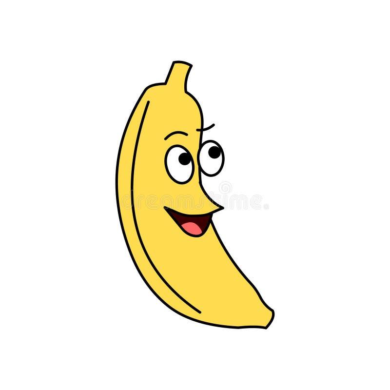 Vecteur de banane de bande dessinée Fruit de bande dessinée Personnage de dessin animé de banane illustration de vecteur