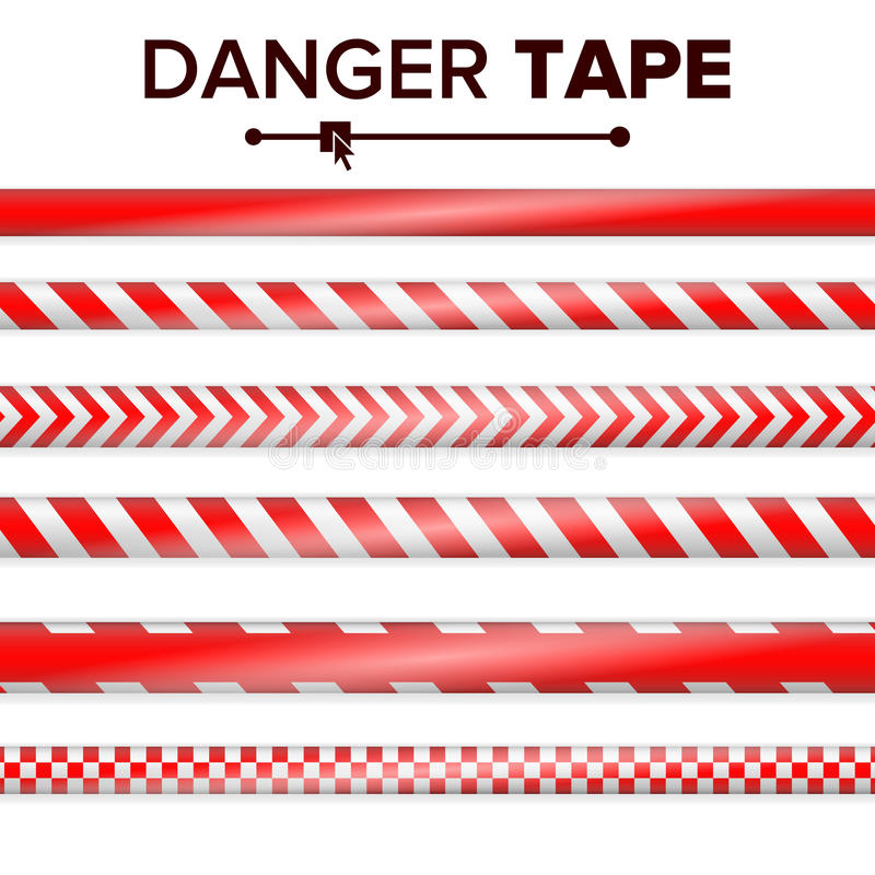 Vecteur de bande de danger ROUGE ET BLANC Bandes de dispositif avertisseur Illustration en plastique réaliste d'ensemble sur band illustration de vecteur