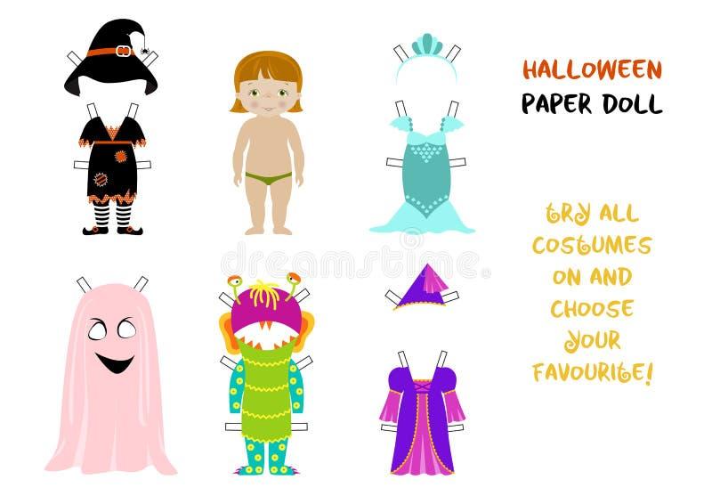 Vecteur de bande dessinée de poupée de papier de Halloween illustration libre de droits