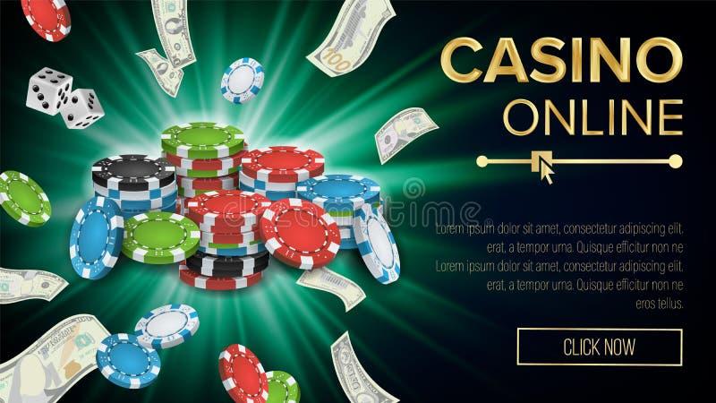 Vecteur de bannière de casino Puces lumineuses d'explosion, jouant des matrices, billets de banque du dollar Symbole de gagnant P illustration de vecteur