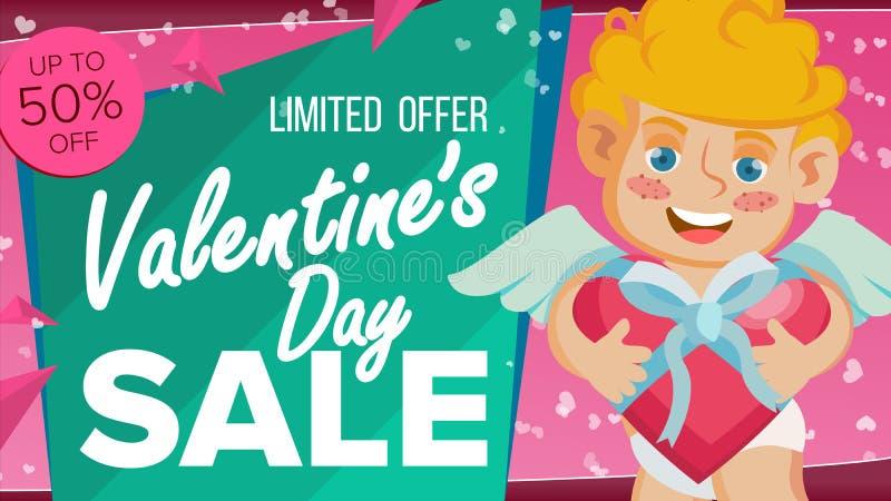 Vecteur de bannière de vente de jour de Valentine s Cupidon heureux, conception de calibre pour l'affiche du 14 février, brochure illustration de vecteur