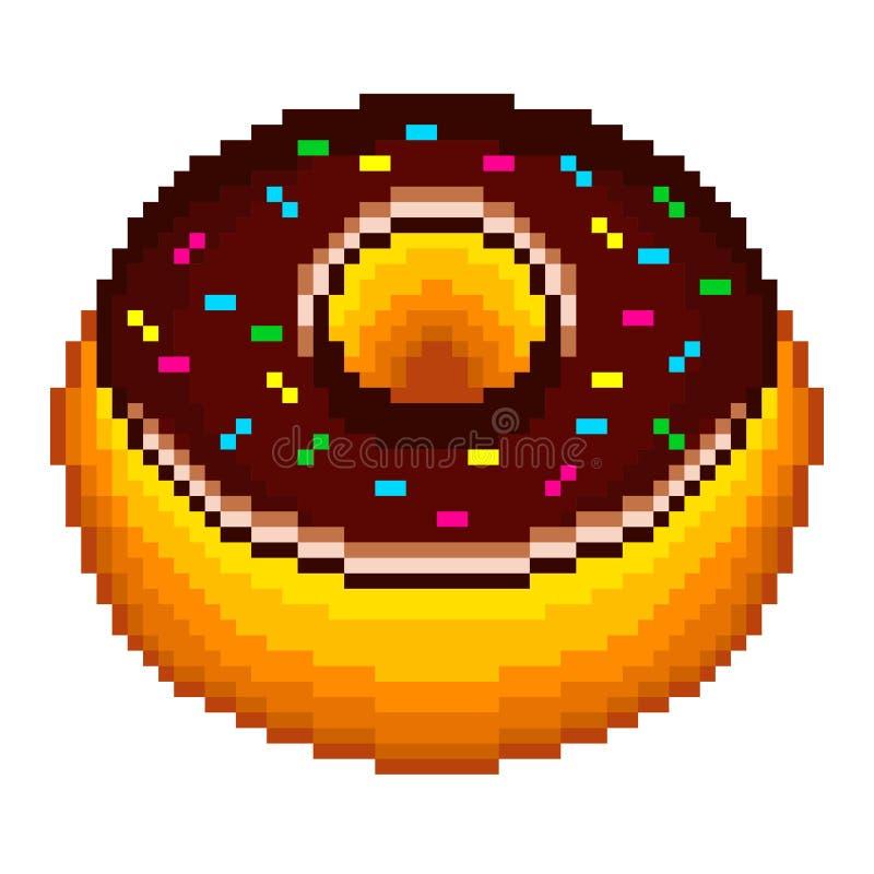 Vecteur de beignet de pixel illustration stock