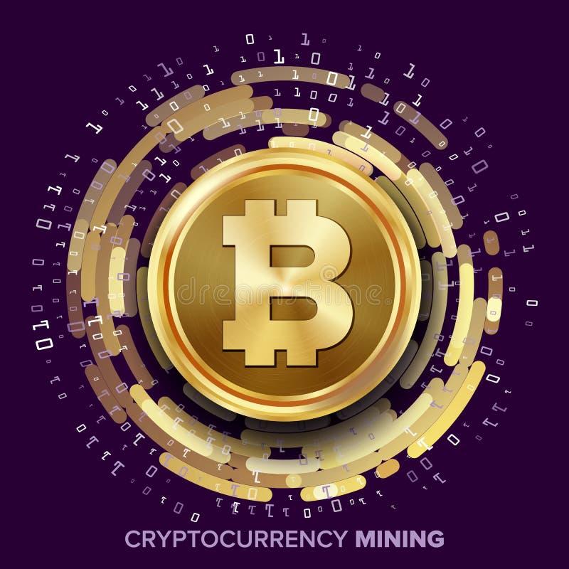 Vecteur de Bitcoin Cryptocurrency d'exploitation Pièce de monnaie d'or, courant de Digital illustration de vecteur