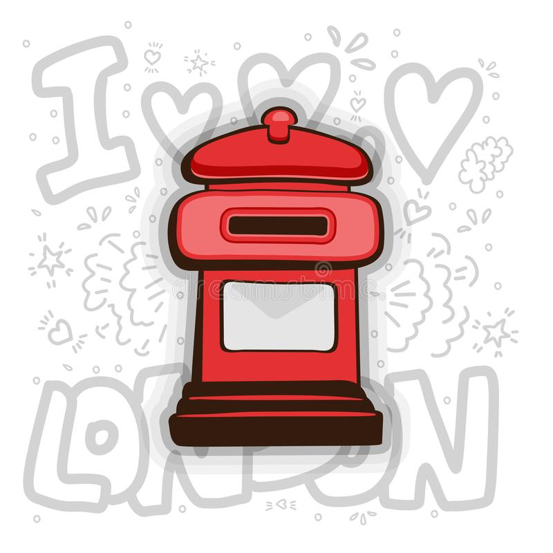 Vecteur de boîte de courrier de Londres Illustration de bande dessinée de courrier de Londres de l'anglais Boîte aux lettres roug illustration libre de droits