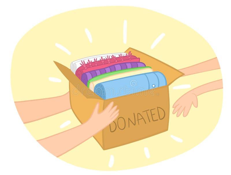 Vecteur de boîte de donation de tissu avec les vêtements colorés dans lui Mains donnant la boîte à une autre main illustration stock