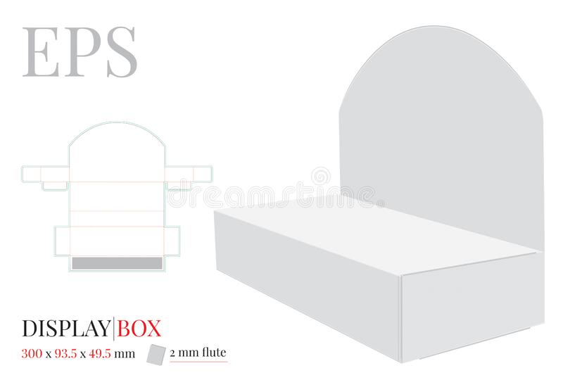 Vecteur de boîte de présentation, calibre avec découpé/de laser avec des matrices coupe, moquerie blanche, claire, vide, d'isolem illustration de vecteur