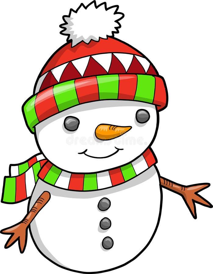 vecteur de bonhomme de neige de vacances de Noël illustration stock
