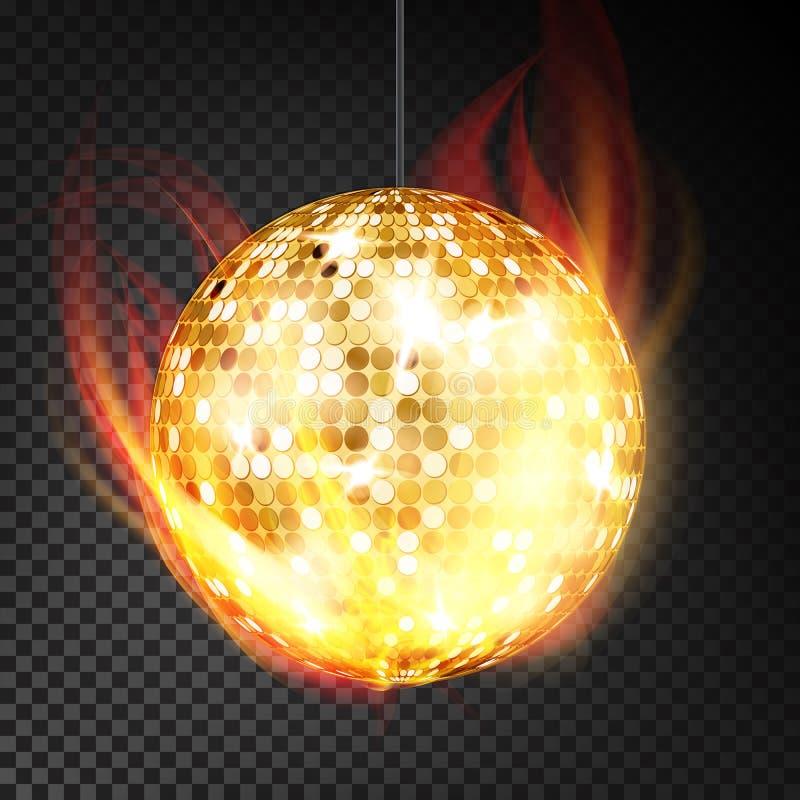 Vecteur de boule de disco d'or réaliste Boule jaune de boîte de nuit de danse dans le style brûlant sur le fond transparent illustration libre de droits