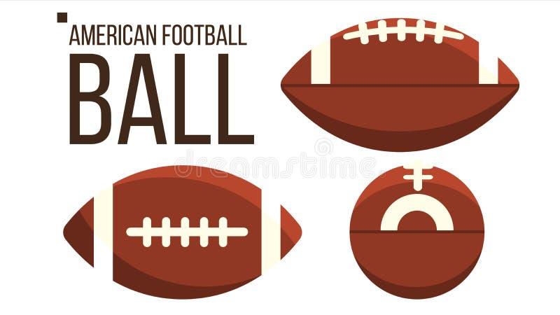 Vecteur de boule de football américain Équipement de sport de rugby Vue différente Illustration plate d'isolement illustration stock