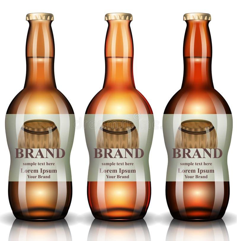 Vecteur de bouteilles à bière réaliste Conception de label de vintage d'emballage de produit les illustrations 3d raillent  illustration de vecteur