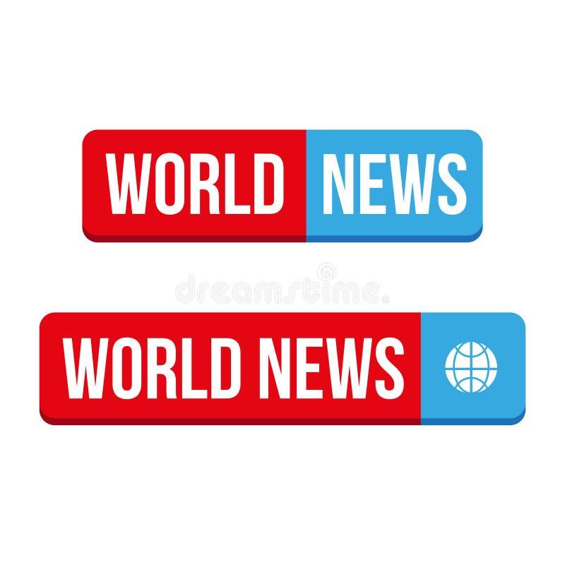 Vecteur de bouton de nouvelles du monde illustration de vecteur