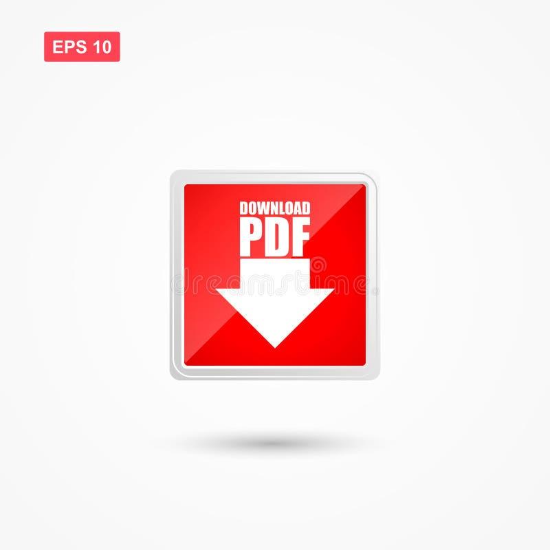 Vecteur de bouton rouge de pdf de téléchargement avec la flèche illustration libre de droits