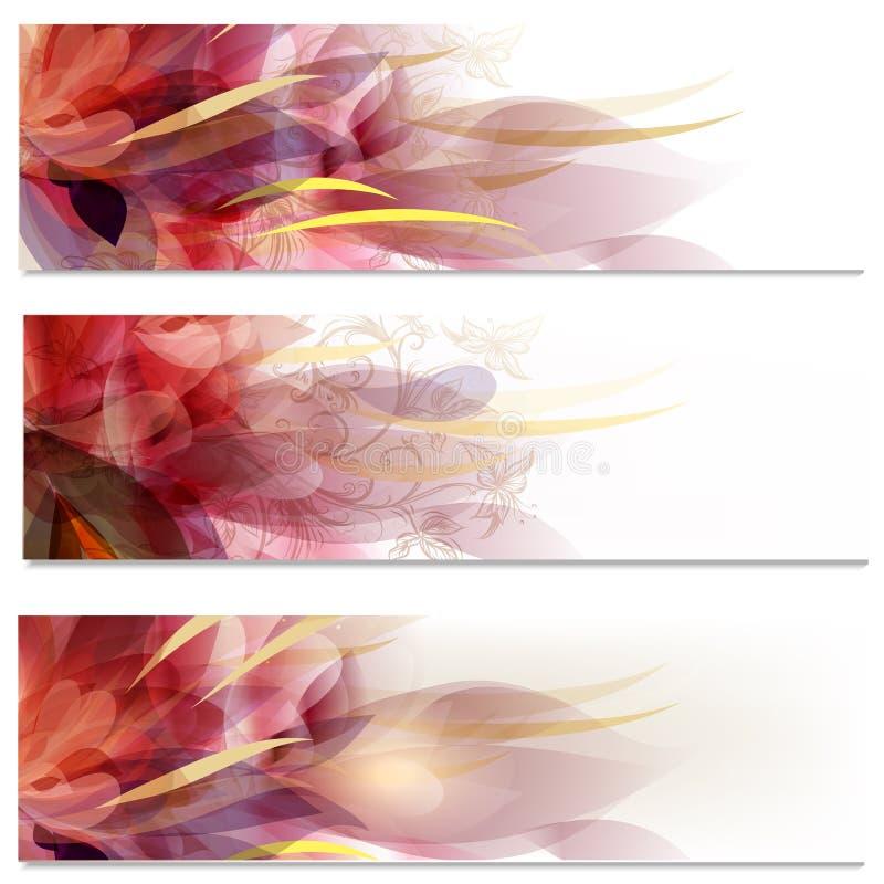 Vecteur de brochure réglé dans le style floral illustration libre de droits