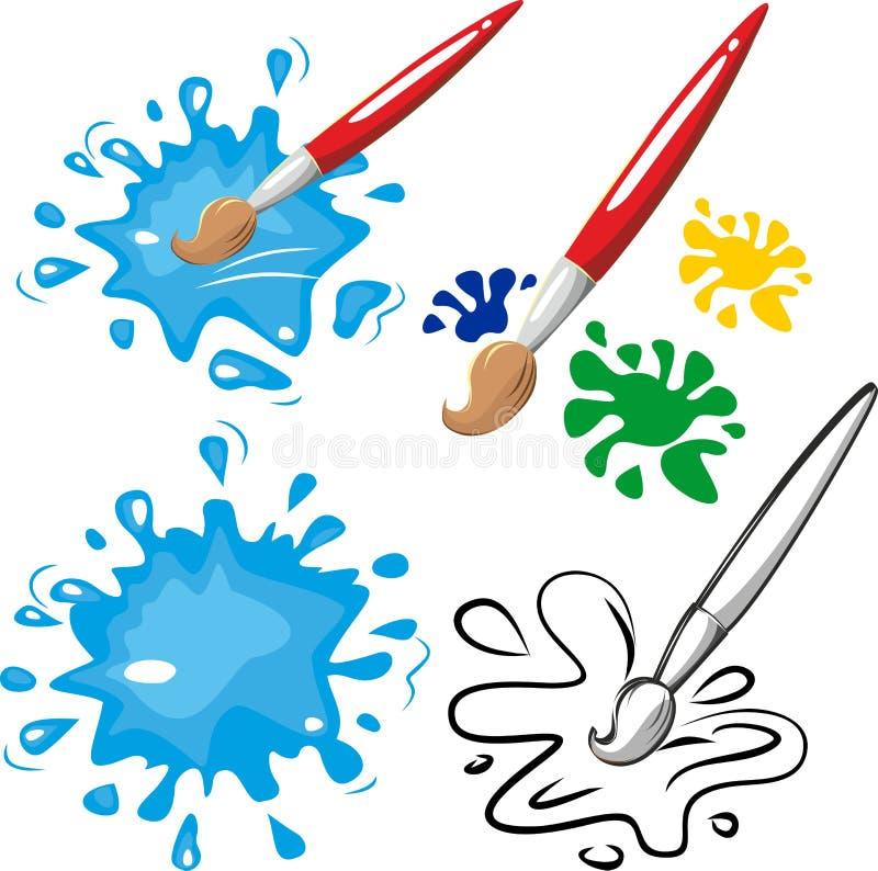 Vecteur de brosse et de peinture pour des enfants photographie stock